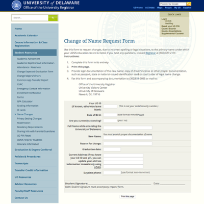 Change of Name Request form Web site