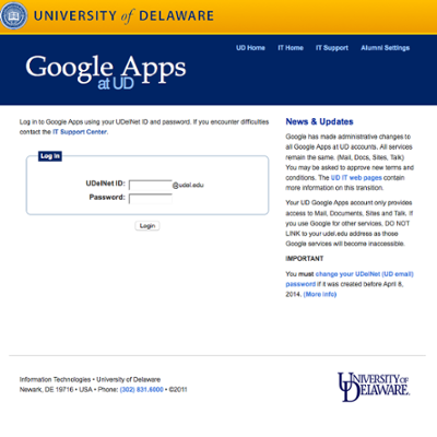Google Apps @ UD secure log in required