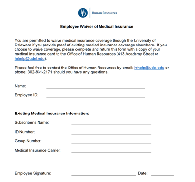 Employee Waiver Of Medical Insurance My Ud