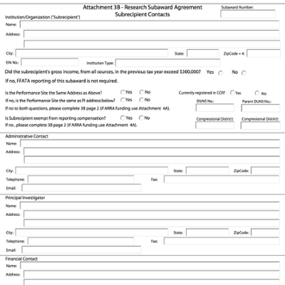 Research Subaward Agreement Subrecipient Contacts screen shot