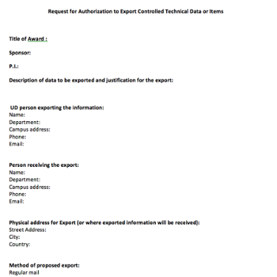 Request for Authorization to Export Controlled Technical Data or Items screen shot