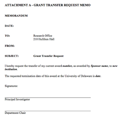 Grant Transfer from UD Request Form screenshot