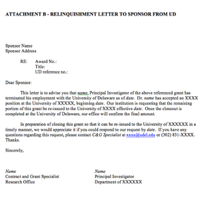 Relinquishment Letter to Sponsor from UD screenshot