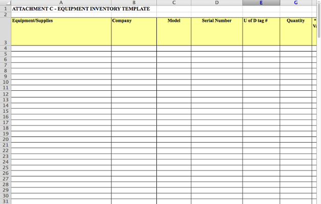 Equipment Inventory Template Attachment C My Ud