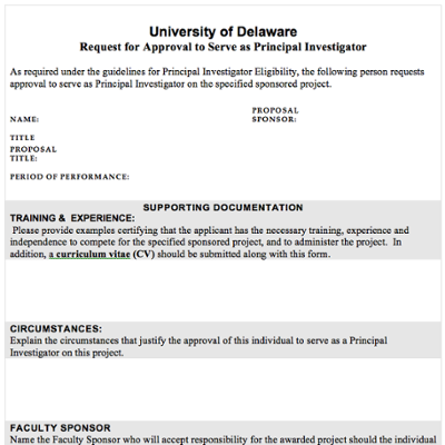 Request for Approval to Serve as Principal Investigator screenshot
