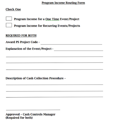 Sponsored Research Program Income Procedure & Routing Form screenshot