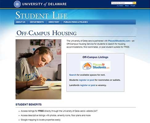 Off Campus Student Housing web site
