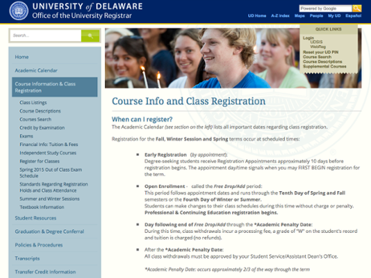 Course Information and Class Registration screenshot