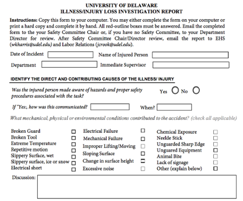 Incident Investigation Reporting Form screenshot