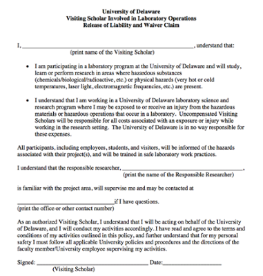 Visiting Scholars Laboratory Operations Waiver screenshot
