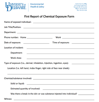 First Report of Chemical Exposure Form screenshot