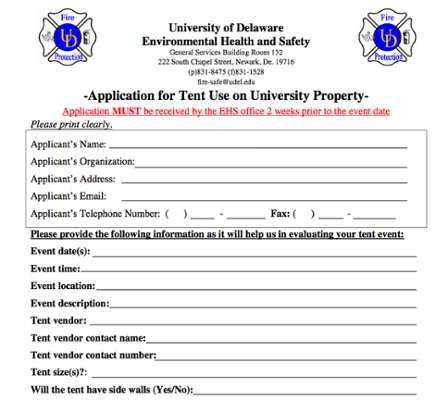 Application for Tent Use on University Property screenshot