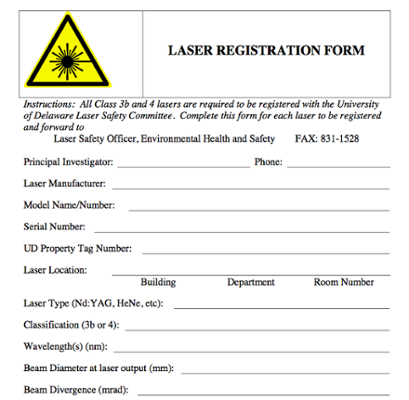 Laser Registration Form screenshot