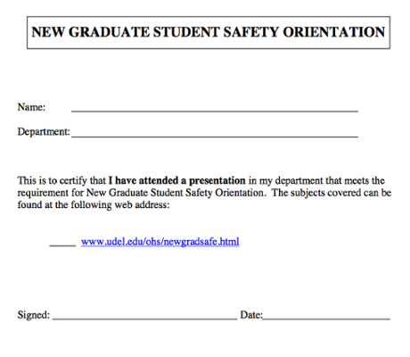 New Graduate Student Safety Orientation Certification screenshot