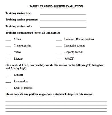 Safety Training Session Evaluation screenshot