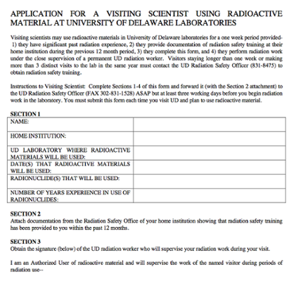 Application For Visiting Scientist to use Radioactive Materials screenshot