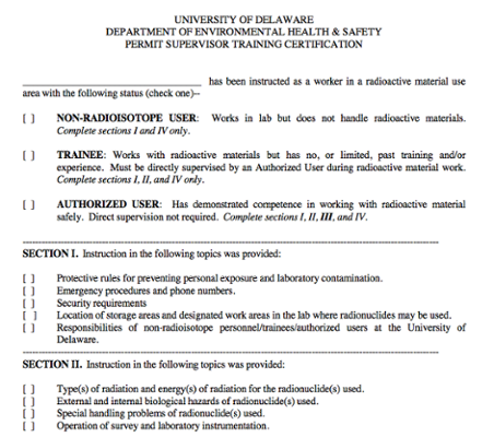 Permit Supervisor Training Certification for Radiation Material Users screenshot
