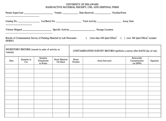 Radioactive Material Receipt, Use, And Disposal Form screenshot