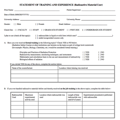 Statement Of Training And Experience For Radioactive Material Users screenshot