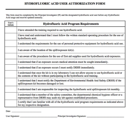 Hydrofluoric Acid Authorization Form screenshot