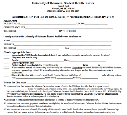 Student Health Record Release Form screenshot
