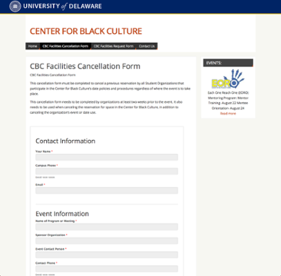 Center for Black Culture Facilities Cancellation Form screenshot