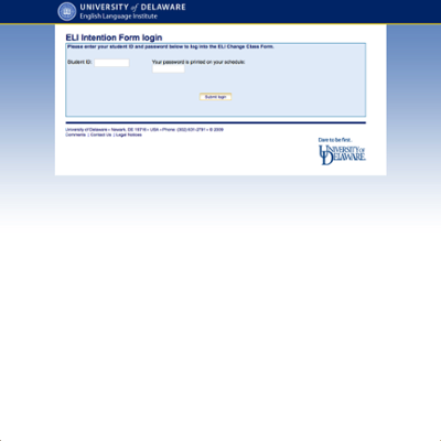 English Language Institute (ELI) Academic Intention Form screenshot