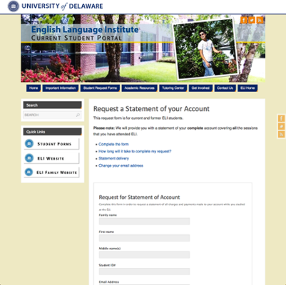 English Language Institute (ELI) Request a Statement of your Account screenshot