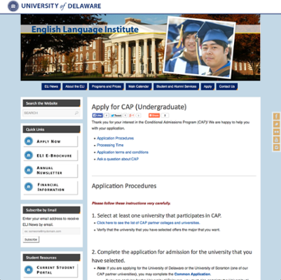 English Language Institute (ELI) Conditional Admissions Program (CAP) Undergraduate Application screenshot