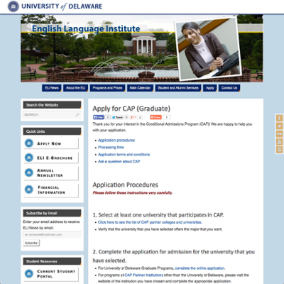 English Language Institute (ELI) Conditional Admissions Program (CAP) Graduate Application screenshot