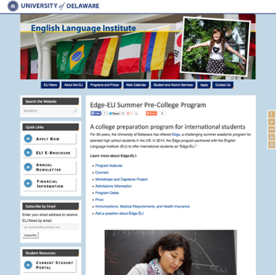 English Language Institute (ELI) Edge Summer Pre-College Program Application screenshot