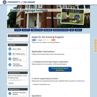 English Language Institute (ELI) Evening Program Application screenshot