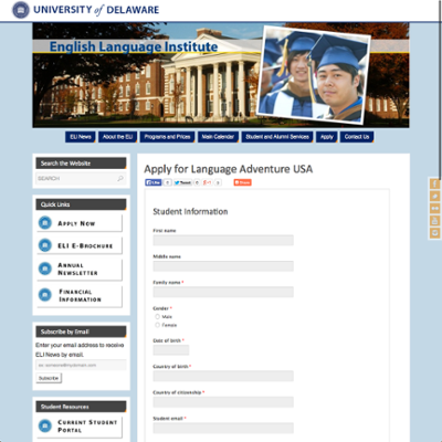 English Language Institute (ELI) Language Adventure USA Program Application screenshot
