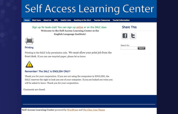 English Language Institute (ELI) Self Access Learning Center screenshot