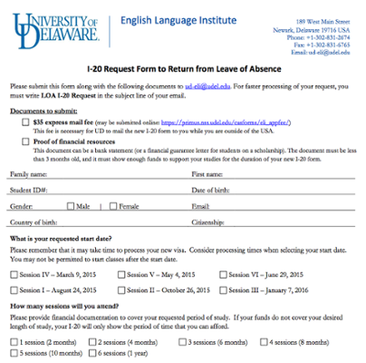 English Language Institute (ELI) I-20 Return from Leave of Absence Request Form screenshot