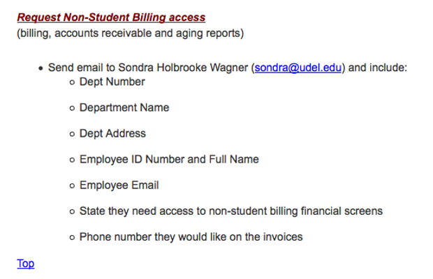 Request Non-Student Billing Access screenshot