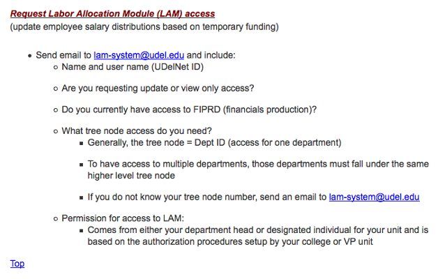 Request Labor Allocation Module (LAM) Access screenshot