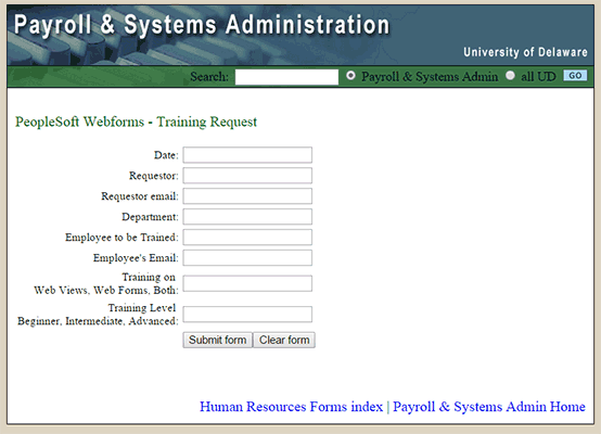 PeopleSoft WebForms Training Request Form