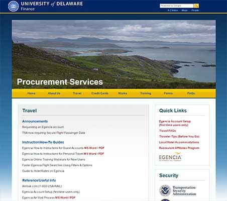 Procurement Services Travel web page