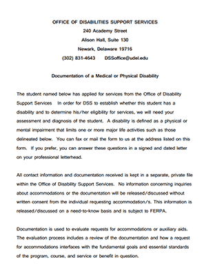 Medical or Physical Disability Documentation form