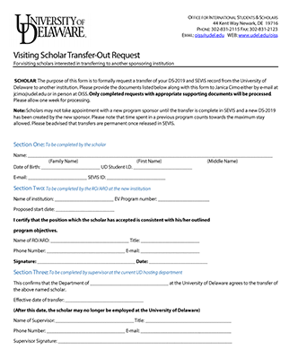 OISS J-1 Scholar Transfer-Out Request Form