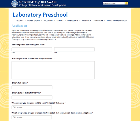 Laboratory Preschool Application