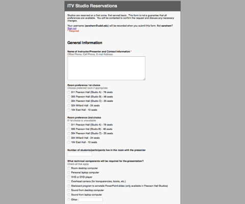Video Conferencing Studio Reservation Form screenshot