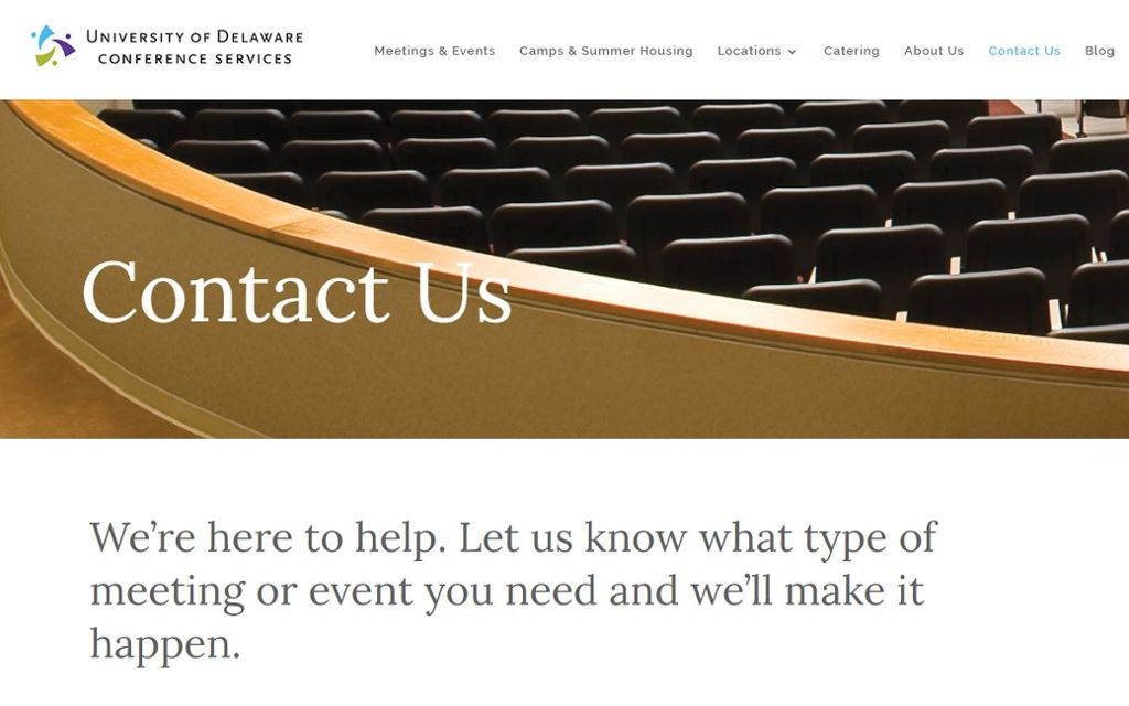 University of Delaware conference services contact us screen capture