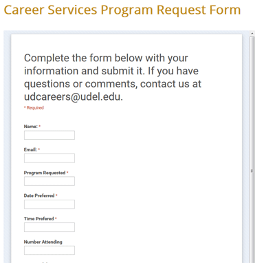 Career Services form