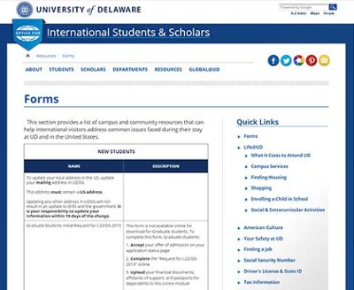 Office of International Students and Scholars (OISS) Graduate Forms