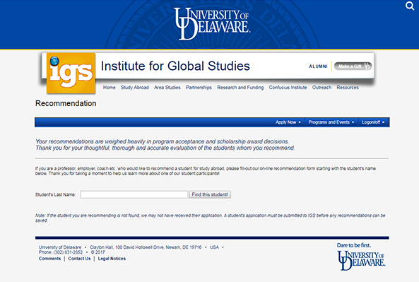 Institute for Global Studies Recommendation form