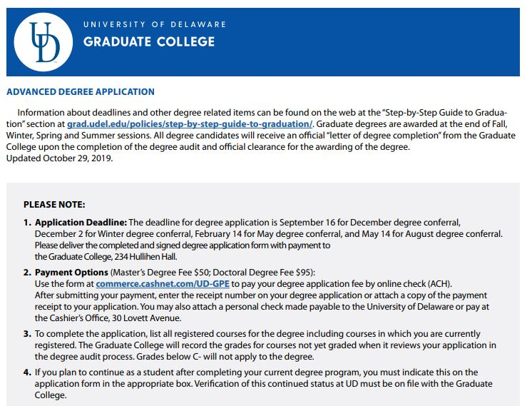 Advanced degree application screen capture