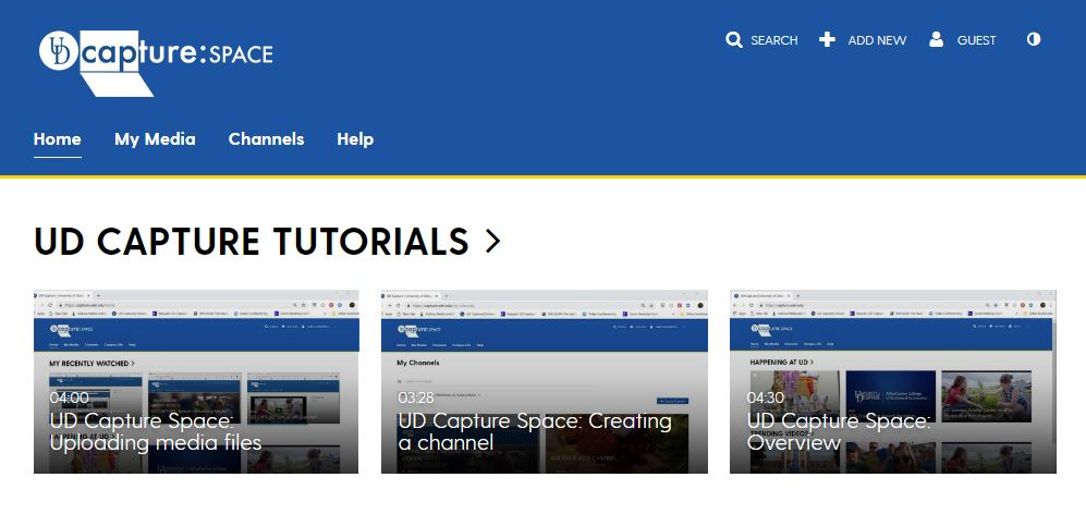 UD Capture Space home page with tutorial videos